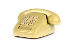 Il vecchio telefono giallo Fotografia Stock Libera da Diritti