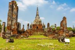 Il vecchio tempio è bello a Ayutthaya la molta gente è wor fotografia stock libera da diritti