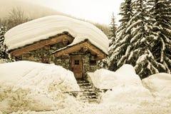 Il vecchio villaggio nevoso del ` Isère di Val d Fotografia Stock