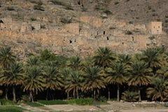 Il vecchio villaggio vicino ad Al-Hamr'e a Jebel simula, l'Oman fotografie stock libere da diritti