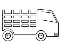 Il veicolo del camion in bianco e nero colora l'icona Fotografia Stock