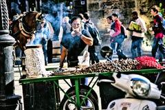 Il venditore delle castagne al forno 39 Fotografia Stock