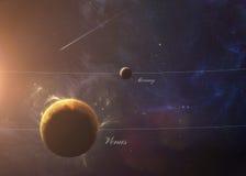 Il Venere con Mercury da spazio che li mostra tutti Fotografia Stock
