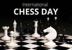il ventesimo luglio - giorno internazionale del concetto di scacchi Fotografie Stock Libere da Diritti