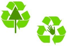 Il verde alternativo ricicla i simboli Immagine Stock