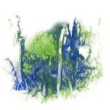 Il verde blu del colpo dell'isolato dell'acquerello dell'inchiostro di colore della spruzzata della pittura schizza la spazzola a Immagine Stock Libera da Diritti