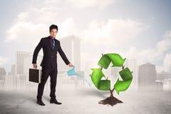 Il verde d'innaffiatura dell'uomo di affari ricicla l'albero del segno sul fondo della città Immagine Stock