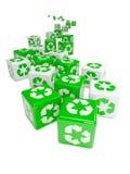 il verde 3d ricicla i dadi Fotografia Stock Libera da Diritti
