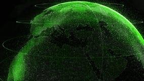 Il verde di Digital Shinny il globo di terra Rotazione del pianeta lucido con le particelle d'ardore animazione 3D di spazio con  illustrazione di stock