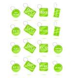 Il verde di Eco ricicla le etichette Fotografie Stock