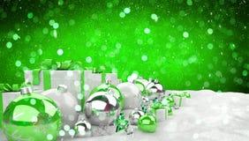 Il verde ed i regali e le bagattelle di natale bianco hanno allineato il renderin 3D Fotografie Stock Libere da Diritti