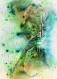 Il verde elven la creatura leggiadramente con le campane dello stagnaio, disegno lineare monocromatico Immagini Stock