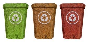 Il verde giallo rosso ricicla il recipiente dal legno del sughero Fotografia Stock Libera da Diritti