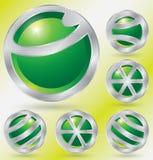 Il verde ha punteggiato le figure astratte - un insieme di sei Fotografia Stock