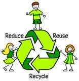 Il verde ricicla i bambini/ENV Immagini Stock