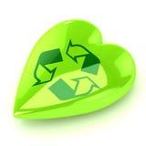 Il verde ricicla il cuore illustrazione di stock