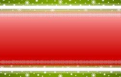 Il verde rosso barra la priorità bassa di natale dei fiocchi di neve Fotografie Stock Libere da Diritti