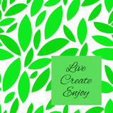 Il verde senza giunte lascia il reticolo Le icone sono su un fondo bianco Illustrazione di vettore Immagini Stock Libere da Diritti