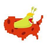 Il verme mangia la mappa U.S.A. Parassiti in America Parassiti negli Stati Uniti Immagine Stock