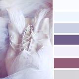Il vestito d'annata della ragazza crema su fondo di legno con i campioni di colore della tavolozza Fotografie Stock Libere da Diritti
