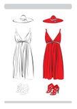 Il vestito ed i pattini Immagine Stock