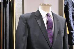 Il vestito grigio elegante perfetto con il legame porpora immagine stock libera da diritti