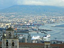 Il Vesuvio e la città della vista di Napoli Fotografie Stock Libere da Diritti