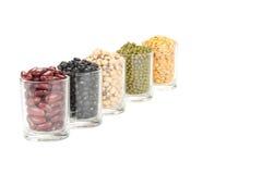 Il vetro dei legumi differenti Immagine Stock
