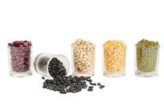 Il vetro dei legumi differenti Immagini Stock Libere da Diritti