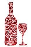 Il vetro e la bottiglia di vino stilizzati illustrazione vettoriale
