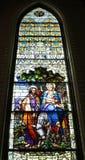 Il vetro macchiato Mary Joseph fugge con Jesus immagine stock