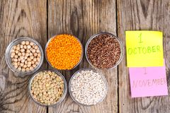 Il vetro modella con i cereali diversi - alimento sano di concetto per il giorno del vegetariano e del vegano del mondo Immagini Stock Libere da Diritti