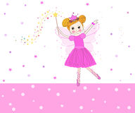 Il vettore adorabile di fiaba con il rosa stars il fondo Immagine Stock