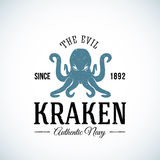 Il vettore autentico diabolico dell'estratto della marina di Kraken illustrazione vettoriale