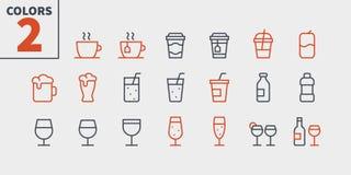 Il vettore Ben-elaborato perfetto del pixel dell'alimento UI delle bevande allinea leggermente le icone 48x48 pronte per la grigl royalty illustrazione gratis
