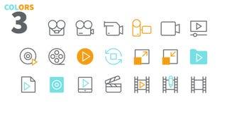 Il vettore Ben-elaborato perfetto dell'audio video pixel allinea leggermente le icone 48x48 pronte per la griglia 24x24 per i gra Fotografie Stock