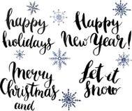 Il vettore con le feste felici, ha lasciato nevicare, il Buon Natale e l'iscrizione del buon anno illustrazione di stock