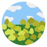Il vettore del cielo dell'albero del paesaggio di autunno Immagini Stock