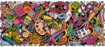 Il vettore del fumetto scarabocchia illustrazione orizzontale della banda di progettazione e di arte illustrazione vettoriale