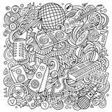 Il vettore del fumetto scarabocchia l'illustrazione di musica della discoteca Fotografie Stock Libere da Diritti