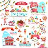 Il vettore del gelato ha messo con le icone e le illustrazioni dell'insegna Fotografia Stock