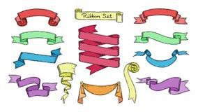 Il vettore del nastro ribboned l'elemento per l'insegna o la retro etichetta in bianco per l'insieme dell'illustrazione della dec illustrazione vettoriale