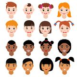 Il vettore del ritratto di Childs scherza il fronte delle ragazze o dei ragazzi del carattere con la persona del fumetto e dell'a Fotografie Stock Libere da Diritti