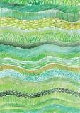 Il vettore dell'acquerello allinea, onde, strutture verdi di vettore dell'acquerello Immagine Stock