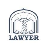 Il vettore dell'avvocato o dell'avvocato ha isolato l'icona o l'emblema Fotografia Stock Libera da Diritti