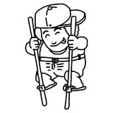 Il vettore dell'illustrazione scarabocchia il ragazzo disegnato a mano con il cappello che sta sopra Immagine Stock
