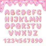Il vettore della ciambella dell'alfabeto scherza la fonte alfabetica ABC delle ciambelle con le lettere rosa ed i numeri lustrati illustrazione di stock