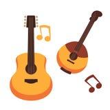 Il vettore delle note delle chitarre o del banjo e di musica degli strumenti musicali ha isolato le icone piane royalty illustrazione gratis