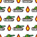 Il vettore di arte del pixel obietta per creare il modello senza cuciture di modo Fondo con i carri armati, asta, per i ragazzi 8 illustrazione vettoriale