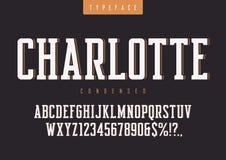 Il vettore di Charlotte ha condensato il retro carattere, lettere maiuscole e illustrazione vettoriale
